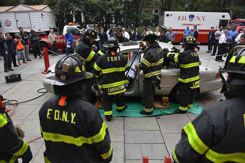 A Fire Safety Demonstration at FDNY Headquarters in Brooklyn.